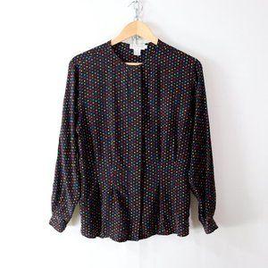 vintage ann taylor rainbow polka dot silk blouse